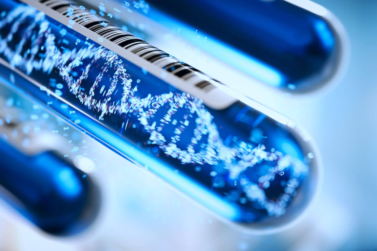 Molecule of DNA forming inside the test tube equipment.3d rendering,conceptual image.